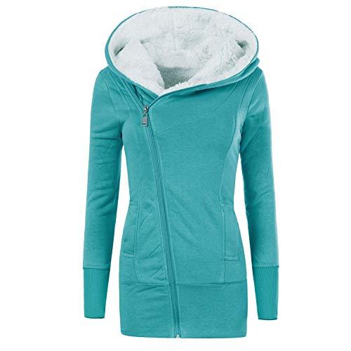 YSLMNOR Winter Warm Zipper Coat Womens Inside Fleece Padded Sweatshirt Solid Color Slim Hoodie Green