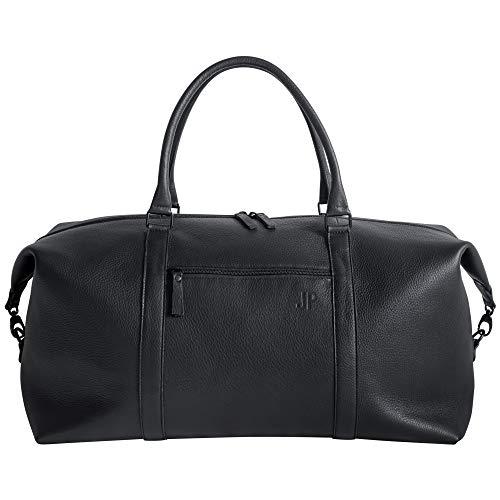 JP Journey Weekender Leder Reisetasche mit Koffergurt und RFID Blocker Fach, Herren Damen, 40 Liter, Schwarz