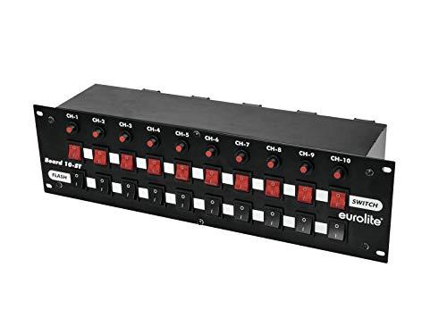 Eurolite Board 10-ST 10x Schutzkontakt   Panel, 10 Schalter (10 x Flash), getrenntes Schalten (10 Schutzkontaktdosen)
