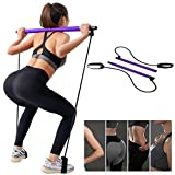 Portable Pilates Bar Kit with Resistance Band, Yoga Exercise Pilates Bar with Anti-Slip Foot Loop, Squat Strength and Toning Equipment for Full Workout