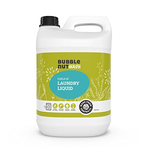 BubbleNut Wash Laundry Detergent Liquid (5 Litres) - Natural, Organic, Baby safe, Soap nuts based (5 Lits), Sensitive Skin,...