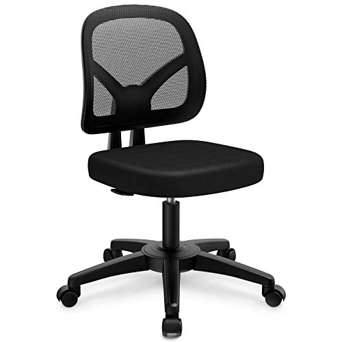 Armless Office Chair mysuntown Ergonomic Task Office Chair No Arms Small Computer Desk Chairs with Wheels Black Mesh Comfortable Adjustable Chair (Small)