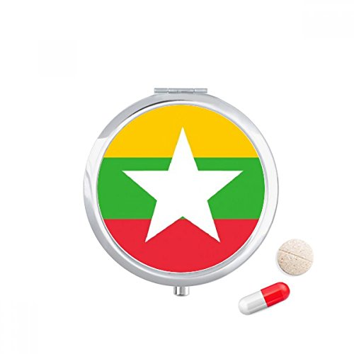 DIYthinker Myanmar Nationale Vlag Azië Land Reizen Pocket Pill case Medicine Drug Opbergdoos Dispenser Spiegel Gift