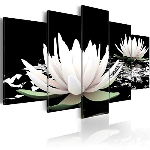 5 Panel Lotus Flower Paintings Black and White Traditional Chinese Canvas Wall Art Modern Giclee Prints Decor Floral Artwork for living room