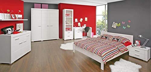 Jugendzimmer Snow Komplett-Set 7-TLG. Bett 140 cm Weiß matt, von Forte