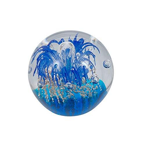 Traumkugel 232(mini) blaue Blume über goldenen Gr&- Glaskugel, Briefbeschwerer