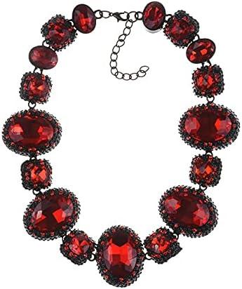 Indian Large Collar Statement Choker Necklace Women Luxury Wedding Big Glass Crystal Gem Necklace Female Vintage ZA Jewelry 2021