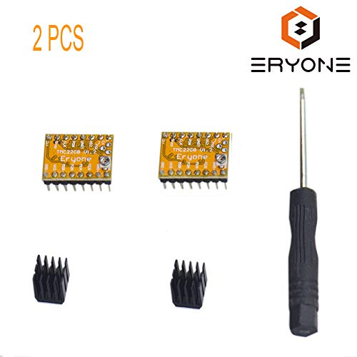 Eryone Stepper Motor Driver TMC2208, 2pcs Stepper Motor Driver For FDM 3D Printer mother board Packed with Heat Sink Screwdriver, Yellow