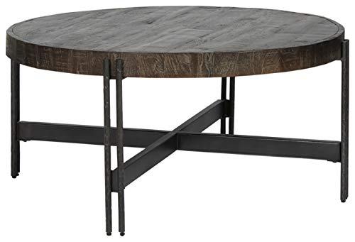Signature Design by Ashley - Jillenhurst Round Rustic Cocktail Table, Dark Brown