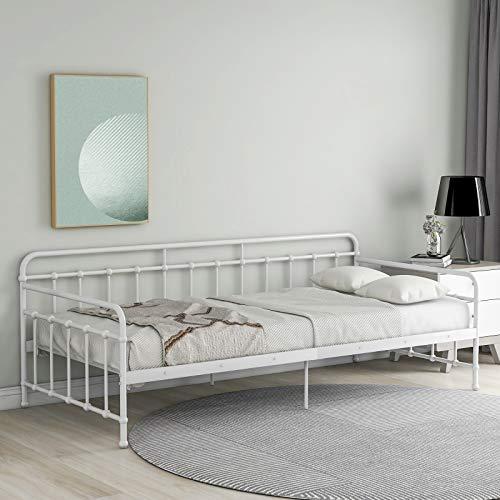 ADIBY Tagesbett Bettsofa Ausziehbett Schlafsofa Bettgestell Jugendbett Ausziehbett Schlafbett mit Lattenrost Daybed Metallrahmen Metall für Gästebet weiß 90 x 200 cm(Matratze Nicht enthalten)