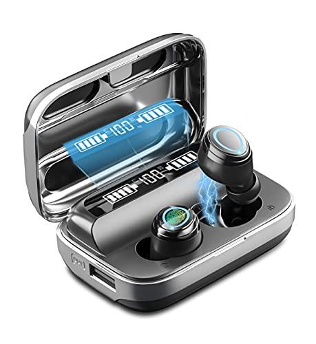 HLIFE「2021新開発」Bluetooth イヤホン ワイヤレス イヤホン Bluetooth 5.1ブルートゥース イヤホン 4000mAh Hi-Fiステレオ AAC対応 300時間連続再生 日本語音声 IPX7防水 CVC8.0ノイズキャンセリング 自動ペアリング 片耳/両耳 マイク内蔵 WEB会議/テレワーク/通勤通学/ランニング (ブラック)