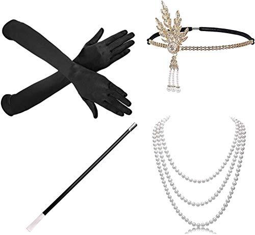 BIRLON 1920s Set de Accesorios Disfraz, Años 20 Flapper Disfraces Accesorios de Charlestón Diadema Pendientes Collar de Perlas Guantes para Mujer Disfraz (Negro#2)