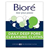 Bior Daily Facial Cleansing Cloths, with Dirt-grabbing Fibers for Deep Pore Cleansing and Makeup Removal without Oily Residue, New Version, Unscented, 60 Count