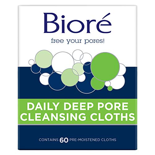Bioré Daily Facial Cleansing Cloths, with Dirt-grabbing Fibers for Deep Pore Cleansing and Makeup Removal without Oily Residue, New Version, Unscented, 60 Count