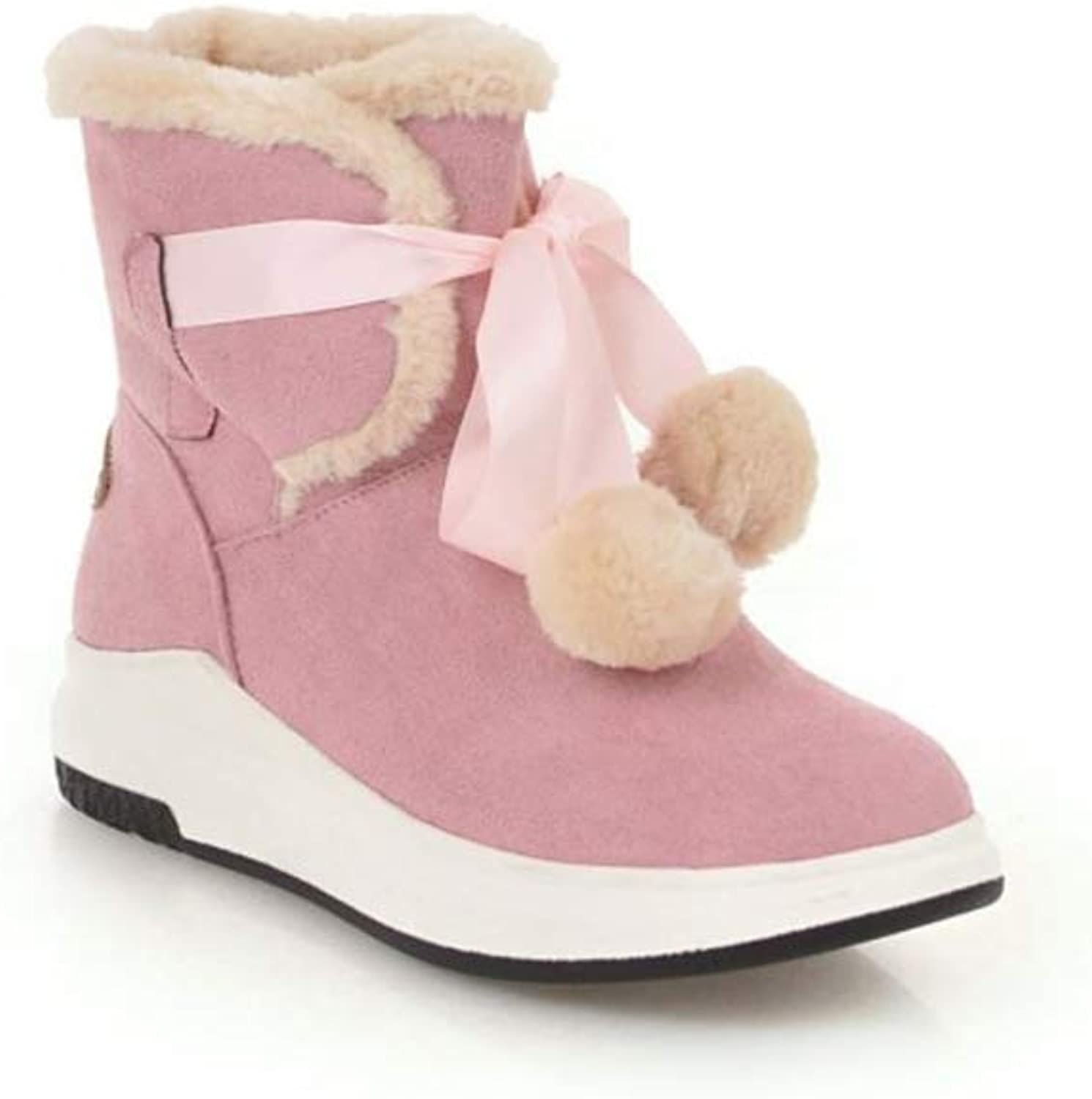 pink town Women's Stylish Waterproof Fur Lined Fur Ball Platform Ankle Winter Snow Boots