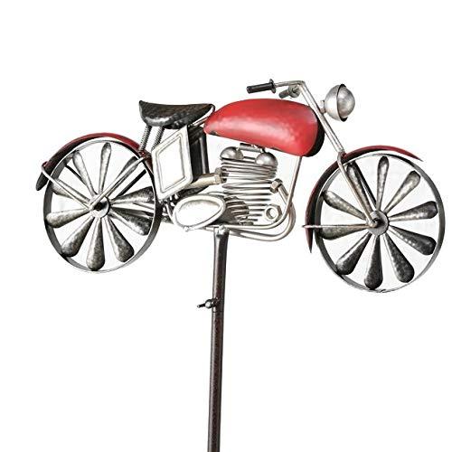 Pommerntraum ® Windspiel Windrad aus Metall Gartendekoration Gartenstecker rotes Motorrad Chopper Moped