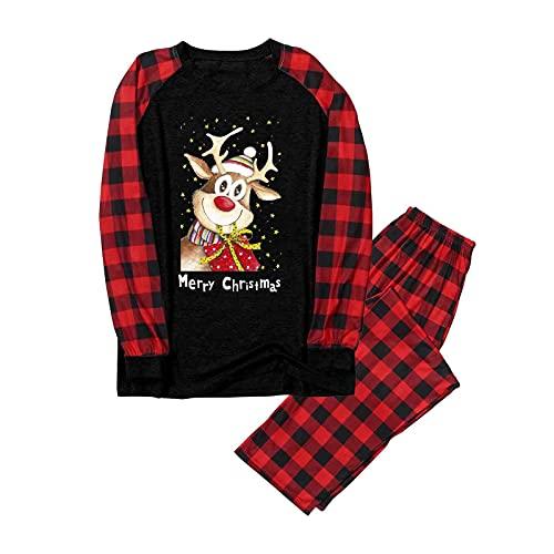 Conjunto de pijama de Navidad para familias, largo, divertido, para hombre, mujer, niño, niña, camisón, ropa de casa, calentito, traje de Navidad, ropa para el hogar, 2 piezas, Hombre negro., XL