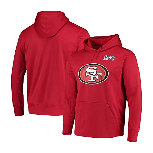 NFLSWER American Football 100. Jahrestag Gedenken 49er-Team-Fan Jersey Sweatshirt Herrenmode Hoodie, Kommode mit Team-Logo-Grafik Jersey (Farbe : Red, Size : XXXL)