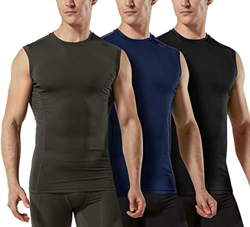 TSLA Men's Sleeveless Workout Shirts, Dry Fit Running Compression Cutoff Shirts, Athletic Training Tank Top, Active 3pack(mua25) - Black/Navy/Hunter Green, Large
