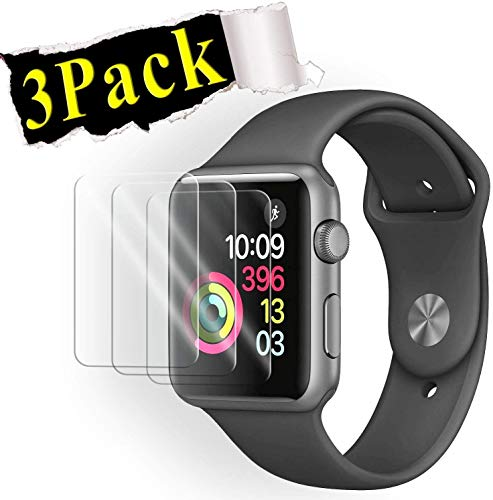 [3-Pack] Apple Watch Serie 3 42mm Screen Protector, [9H Hardness] [Anti-Scratches] [Anti-Fingerprint] Tempered Glass Screen Protector Film Compatible Watch Serie 3 42mm