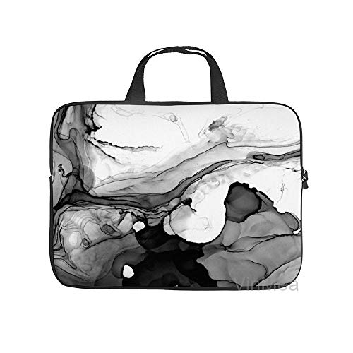 Neoprene Sleeve Laptop Handbag Case Cover Soft Black Marble Patchword Portable MacBook Laptop/Ultrabooks Case Bag Cover 15-15.6 Inch