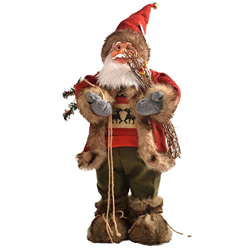 Christmas Decorations high-end Simulation Santa Claus Doll Display Window Scene Desktop Decoration (Red)
