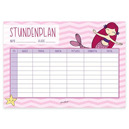 Meerjungfrau-Stundenplan in rosa I DIN A4 Papier-Block I zum Schulanfang I für Mädchen I zum Beschriften und Abreißen I dv_627