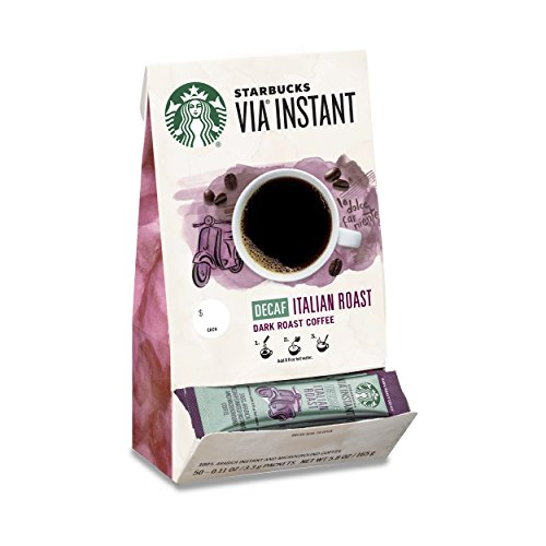Starbucks VIA Instant Decaf Coffee Packets — Italian Roast — 100% Arabica — 1 box (50 packets)