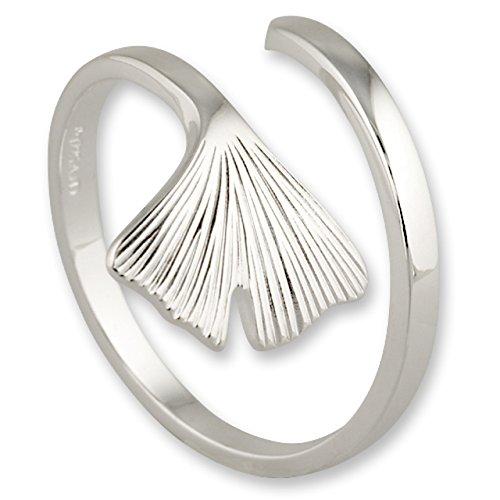 Schmuck-Pur Vollkommener echt Silber Ring Ginkgo-Blatt flexibel