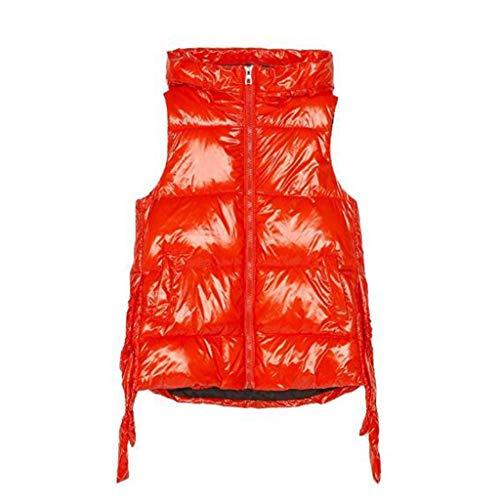 Chalecos abrigados para mujer Chaleco del algodón de las mujeres encapuchadas chalecos de vestir exteriores del chaleco sin mangas de la chaqueta desgaste externo del grueso de mitad de longitud Chale