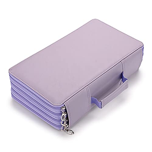 BTSKY 300 Slots Colored Pencil Organizer - Deluxe PU Leather Pencil Case Holder with Handle Strap Pencil Box Large for Colored Pencils Watercolor Pencils Purple