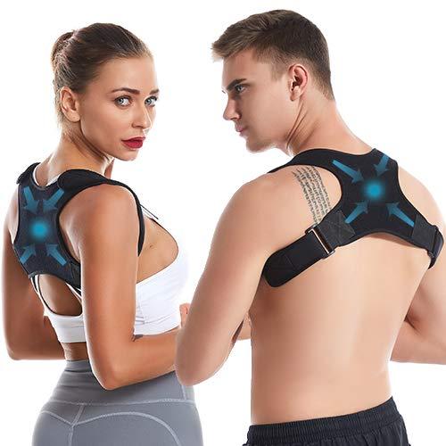 Bomprox Haltungskorrektur Rückenstütze Rücken Geradehalter Schultergurt Haltungstrainer, Verstellbar Atmungsaktiv Posture Corrector Rückentrainer gegen Nacken und Schulterschmerzen für Herren, Damen