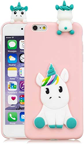 HopMore Compatible with iPhone 6S / 6 (4.7 inch) Case Cover Cute 3D Design Silicone Soft Gel Shockproof Protective Cover Slim Ultra Thin Rubber Bumper Funny Shell for Girls Woman - Pink Unicorn