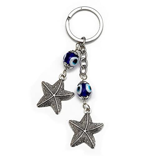 Llavero con Encanto de Estrella de mar de Ojo Malvado, Anillo de aleación de Color Plateado, Llavero de Ojo Turco, joyería de Moda para Mujeres y Hombres