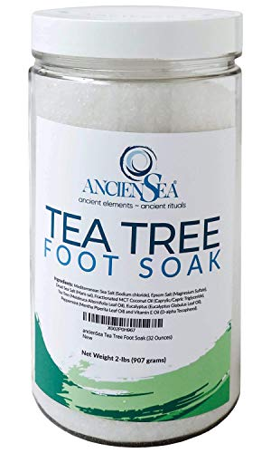 New Tea Tree Foot Soak 32 Ounces Dead Sea Salt and Epsom Salt Plus Pure Tea Tree, Eucalyptus, and Peppermint Essential Oils in Beautiful 2 Pounds Jar