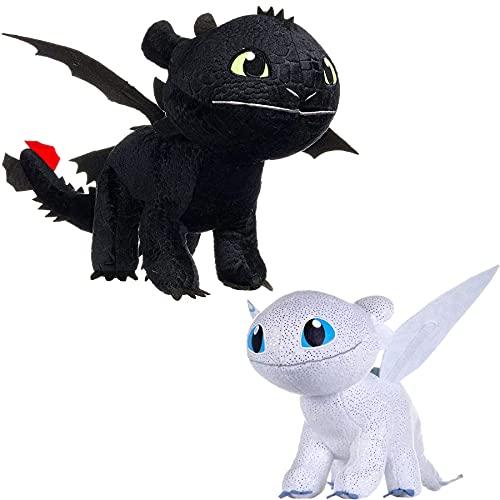 Smok błyszczący biały/czarny Fury PLUSCH damski futrzany 40 cm ujęcie smoka łatwo wykonany 3 tajny świat Dragon Trainer, losowe kolory