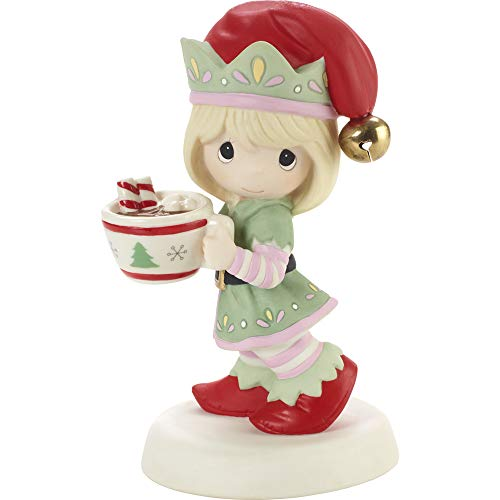 Precious Moments 201013 Cheers to A Sweet Holiday Annual Elf Bisque Porcelain Figurine, Multicolored