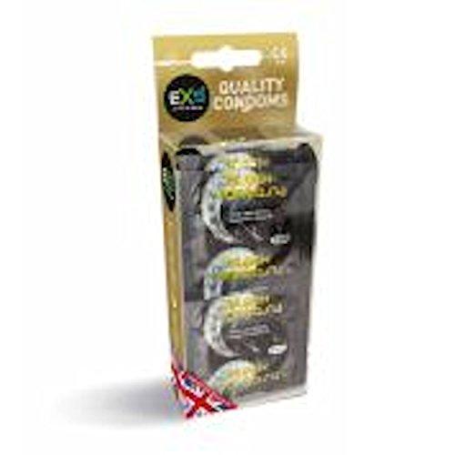 EXS Black Latex 12 schwarze Kondome aus Latex - anatomische Form für mehr Komfort - schwarzes Latex