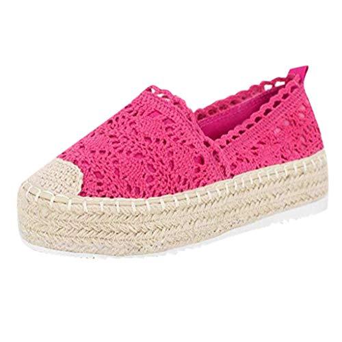 Plateauschuhe Damen Bootschuhe Hollow Platform Freizeitschuhe Einfarbig Atmungsaktiv Wedge Espadrilles, Pink