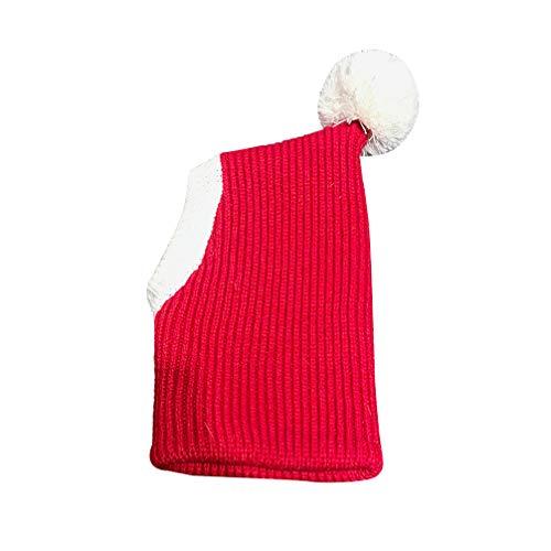 Balacoo Natale Pet Hat Costume Adorabile Inverno Caldo Lana Lavorata a Maglia Cappello paraorecchie Fascia Protezione per Cuccioli di Grandi e Medie Dimensioni (XS Rosso)
