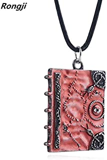 NUTY DESTY Fashion Hocus Pocus Spell Book Necklace Enamel Alloy red White Long Pendant Men and Women Jewelry Hocus Pocus Childrens Book