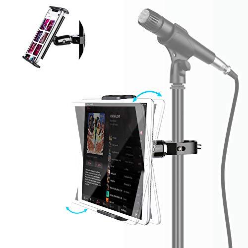 "Elitehood Metal iPad Mic Stand Holder, 360° Swivel Tilt Microphone Stand Phone Holder Mount, Aluminum Tablet Clamp Adapter for All Phone, iPad Pro 12.9/11, iPad, iPad Mini Air and More 4-12.9"" Tablet"