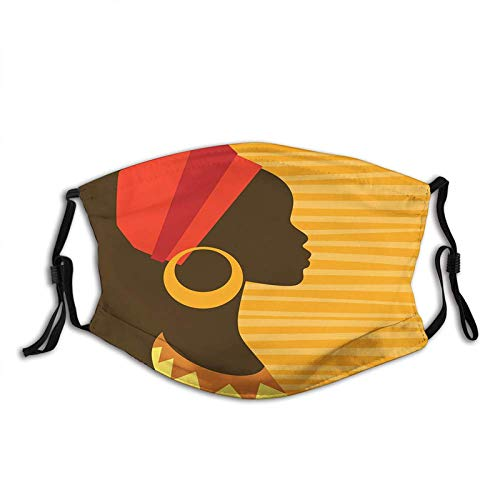 Comfortable Activated Carbon mask,African,Girl Profile Silhouette with Earrings Feminine Grace Image,Dark Brown and Marigold,Facial decorations for Unisex Seniors Adults (132)