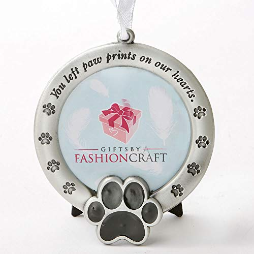 FASHIONCRAFT Pet Memorial Ornament Departed Paw Prints You Left Paw Prints On Our Hearts Round Metal Photo Frame Velvet Easel Back & Gift Box Table Top Remembrance Pewter Finish Dog, Cat