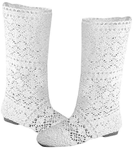 Yying Damen Sommer Stiefel Stiefeletten Flach Stickerei Hohe Stiefel, Sexy Mesh Schlupfstiefel, Slip-On Schuhe Boots Weiß 41