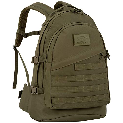 Highlander Military Tactical Assault Backpack – The Recon 20L Waterproof Daysack with Multiple MOLLE Attachment Points for Extra Accessories and Equipment (Olive)