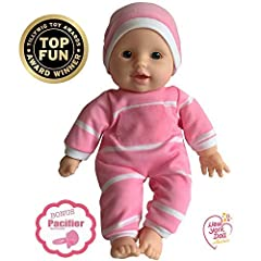 FREE DOLL PACIFIER INCLUDED - Caucasian Soft Baby Doll with Amazingly Detailed Vinyl Head, Arms, and Legs. This BABY DOLL comes Dressed in a Polka striped Onesie and a Sweet Little matching Hat This Baby Doll is 11-inches which makes it easy for Smal...