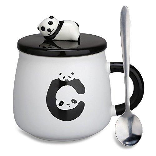 Christmas Gifts,3D Panda Mug for Mom,Women,Wife Cute Ceramic Coffee Mugs Tea Cup with Lids and Spoon(Panda-1)