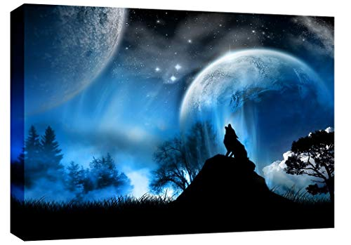 LARGE WOLF IN THE MOONLIGHT MODERN CANVAS PICTURE mounted and ready to hang 30 x 20 inches by Canvas Interiors