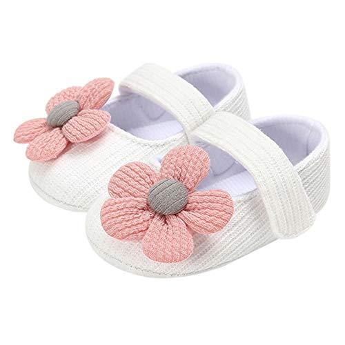 Benedict Chaussons de princesse pour bébé fille en coton avec décor floral et ruban adhésif - Chaussures de princesse pour bébé fille - Coton avec décoration florale et bande adhésive